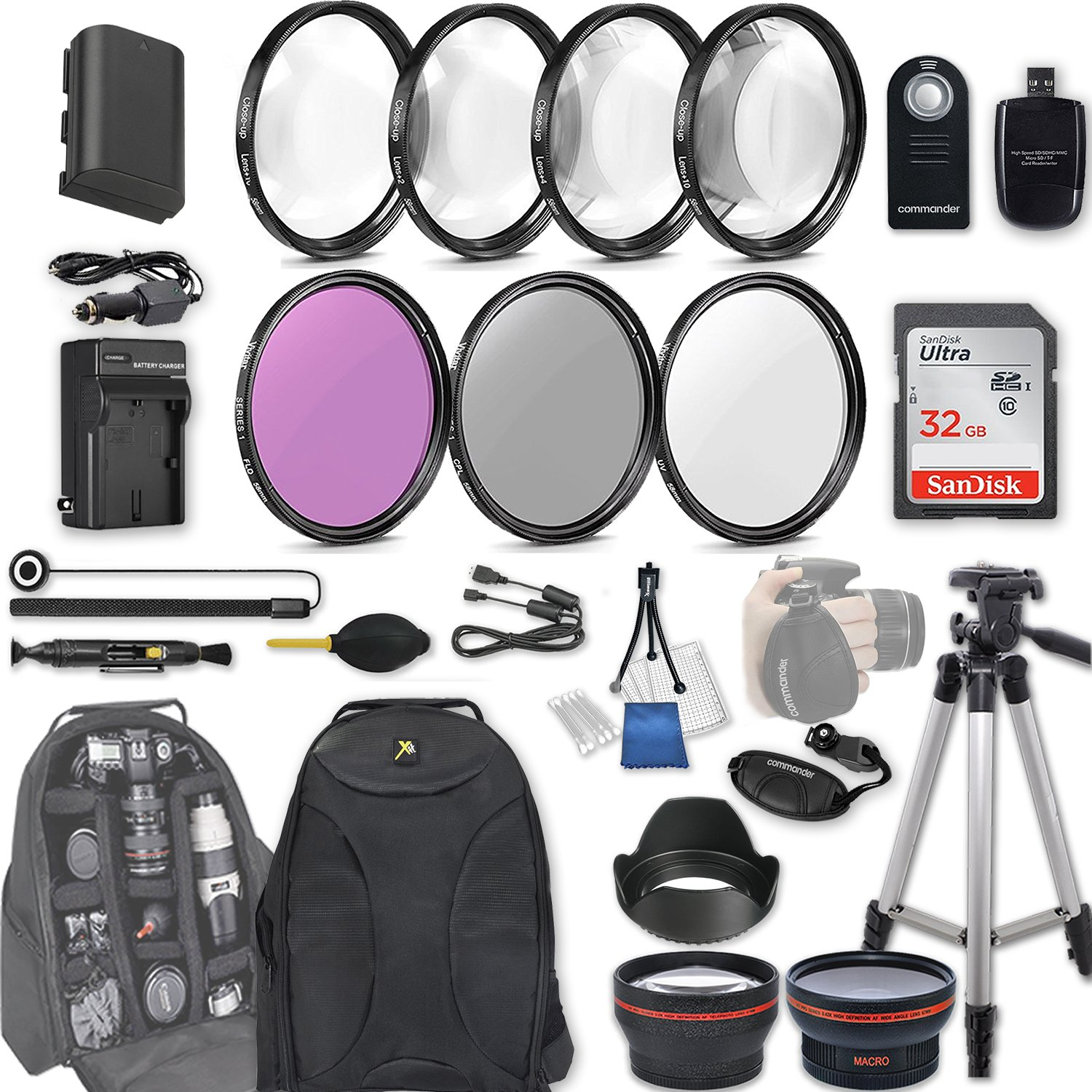 58mm 28 Pc Accessory Kit for Canon EOS Rebel 70D, 80D, DSLRs with 0.43x Wide Angle Lens, 2.2x Telephoto Lens, 32GB Sandisk SD, Filter & Macro Kits, Backpack Case, and More by 33rd Street