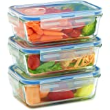 Glass Meal Prep Containers for Food Storage and Prep w/Snap Locking Lids (3|6|18PK) Airtight & Leak Proof - BPA Free…