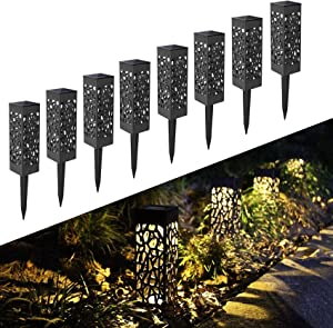 Otdair Solar Garden Lights, IP65 Waterproof Warm Light LED Solar Pathway Lights Outdoor for Garden, Solar Powered Garden Lights Yard, Lawn, Walkway, Patio, Decoration, 8 Pcs