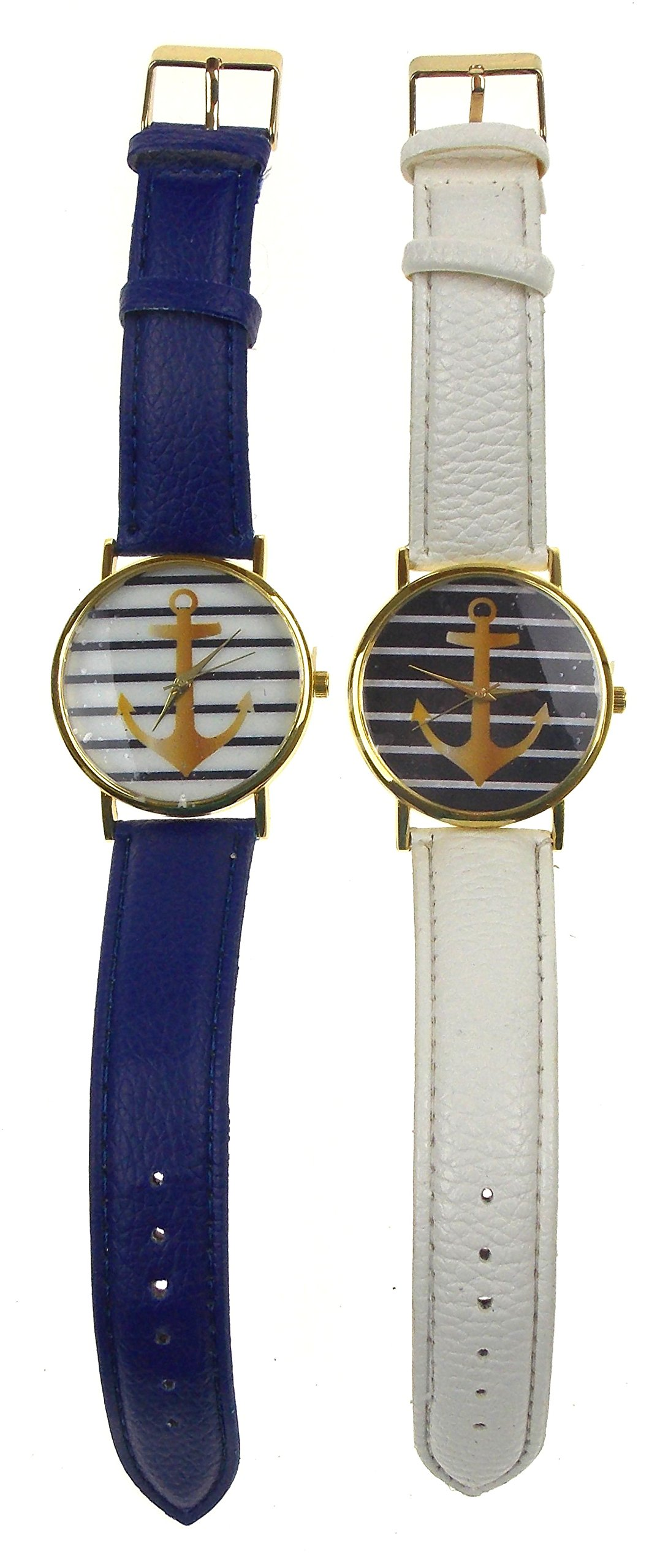 Nautical Anchor Pattern Watch Bundle - 2 Watches with Large Anchor Blue & White Colors