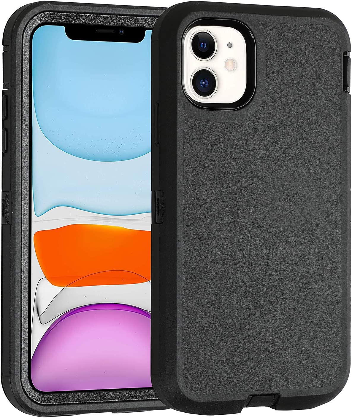Smartelf Case for iPhone 11 Heavy Duty with Built-in Screen Protector Shockproof 3 in 1 Full Body Protective Cover Dust Proof Drop Protection Hard Shell for iPhone 11 2019 6.1