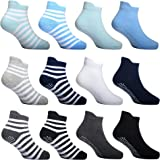12 Pairs Anti Skid Toddler Socks with Grips Boys Ankle Socks for Girls Trampolines Baby Stroller