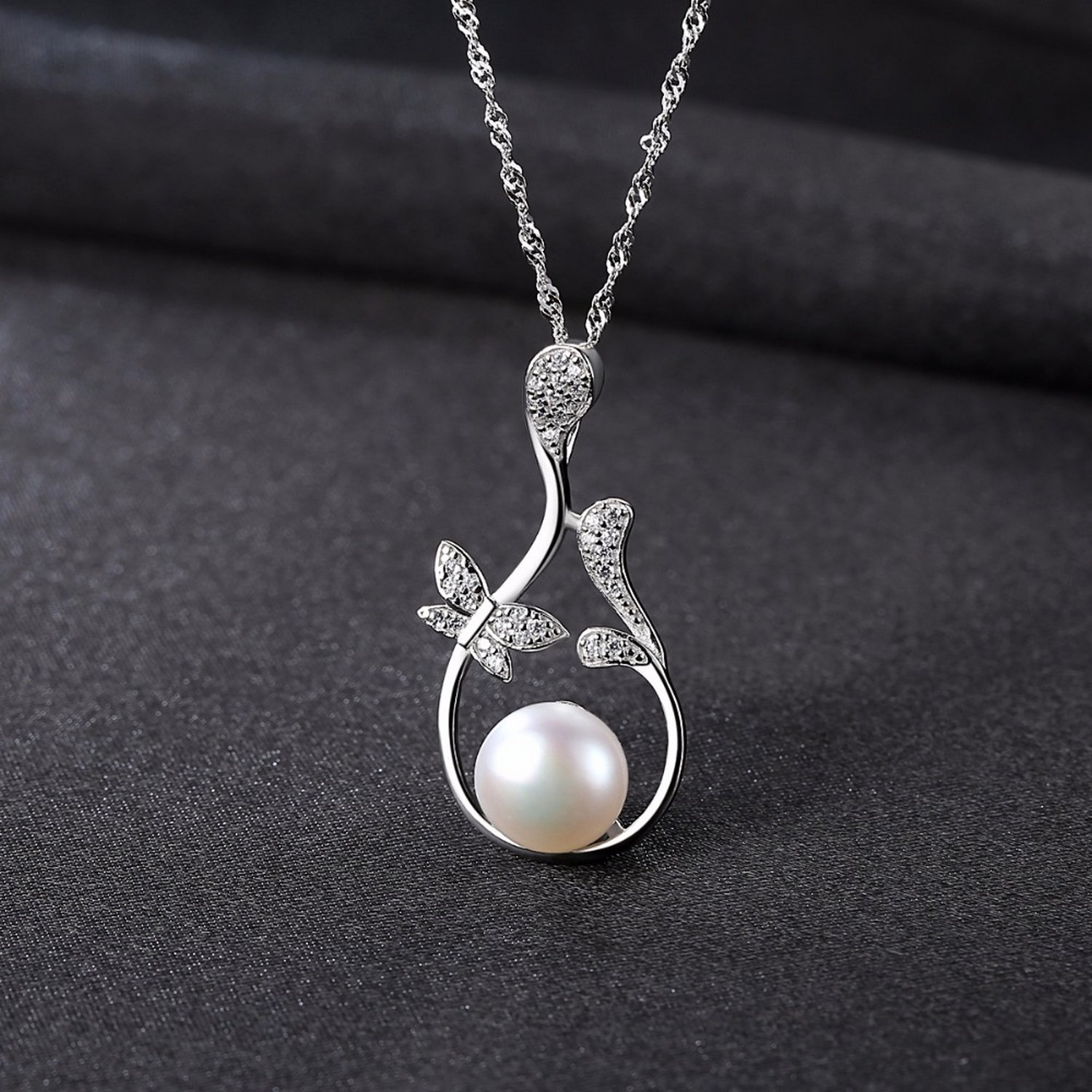 CS-DB Pendants Leaf Pearl Silver Necklaces