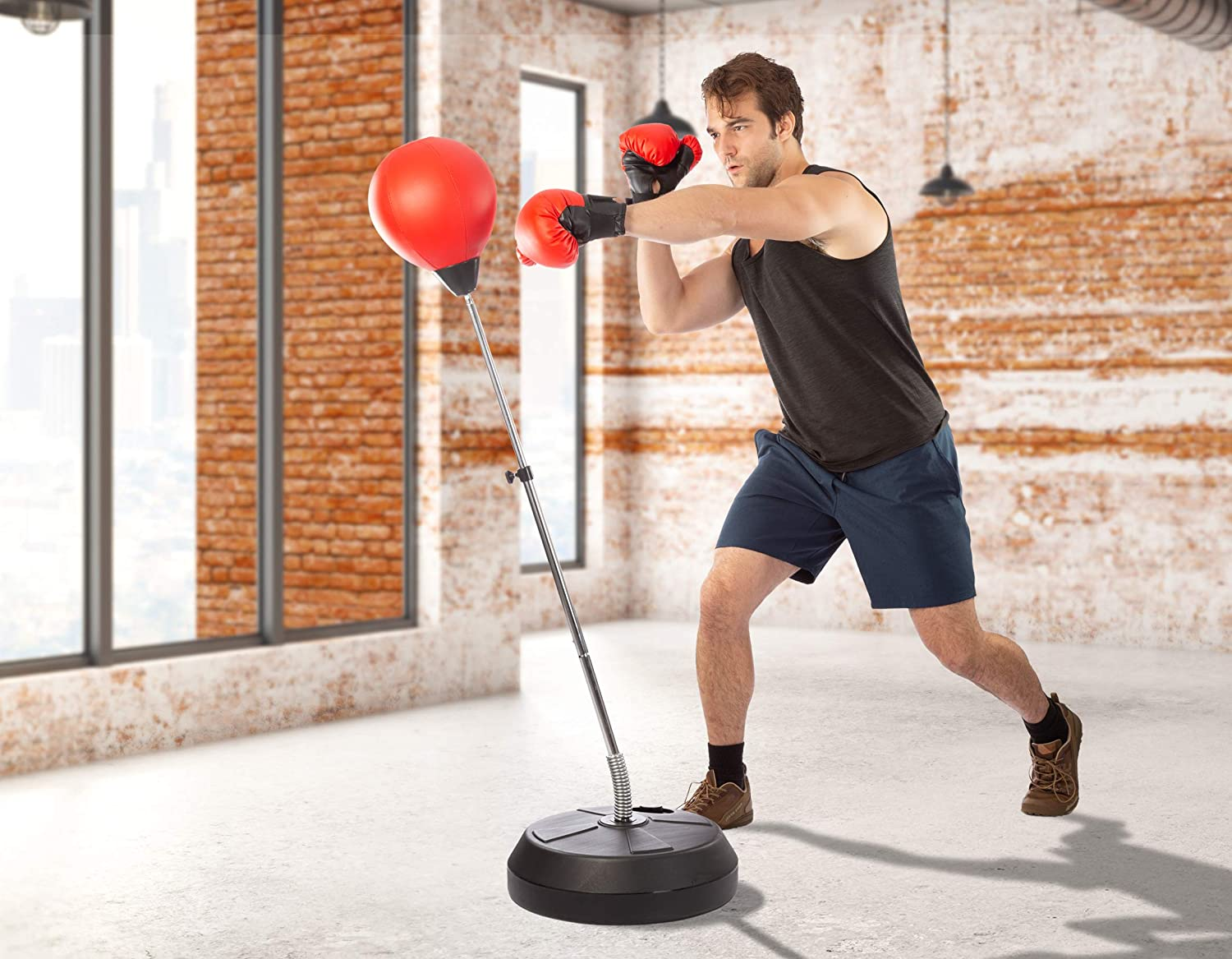 Kids Adults Adjust Inflatable Punching Ball Bag Boxing Stand Sports Set Gloves