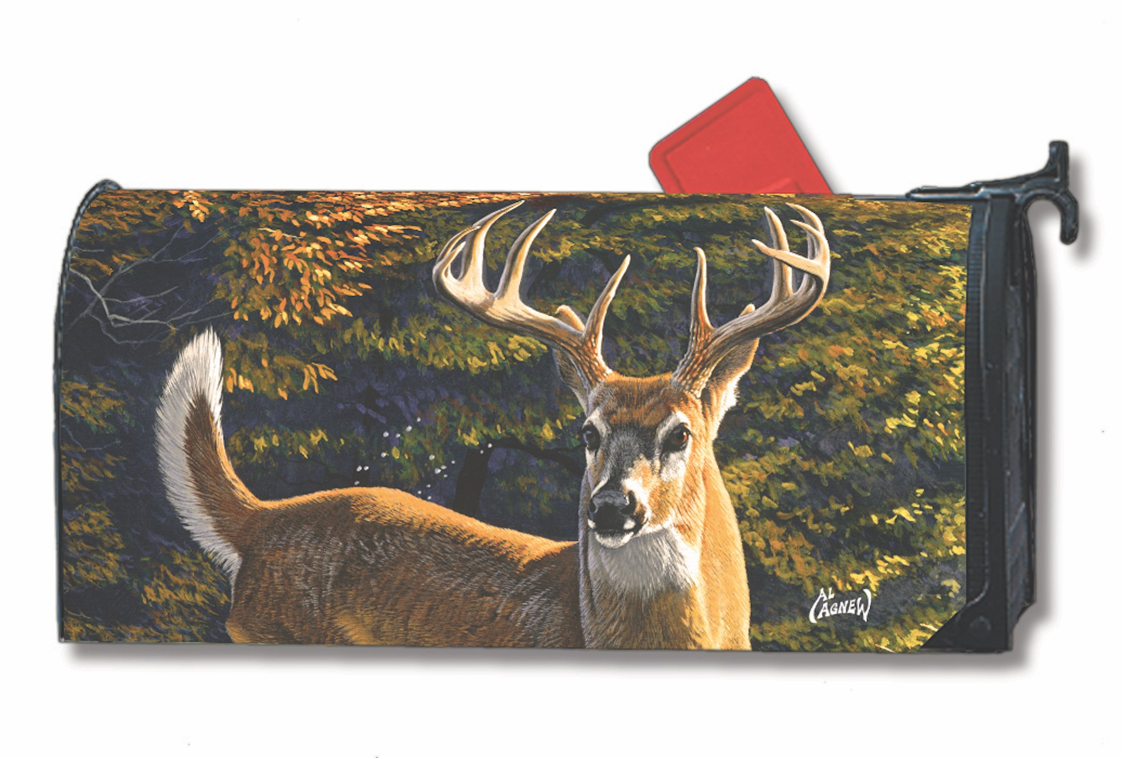 Whitetail Buck Fall Large Oversized Mailbox Cover Autumn Deer MailWraps