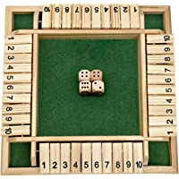 FANXIAOKJ-Shut The Box Dice Game, Classics 4 Sided Large Wooden Board Game (2-4 Players) for Kids and Adults, Smart Game…