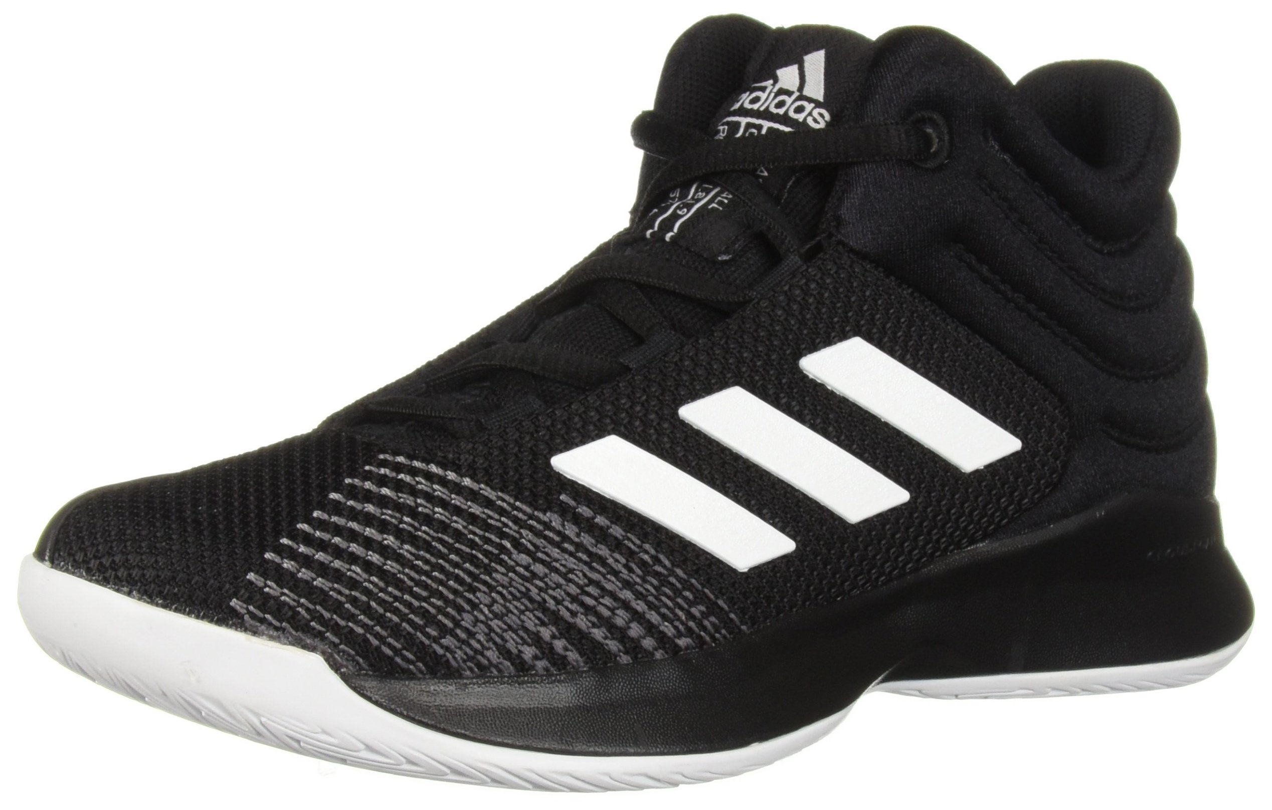 adidas Unisex Pro Spark 2018 Basketball Shoe, Black/White/Grey, 3 M US Little Kid