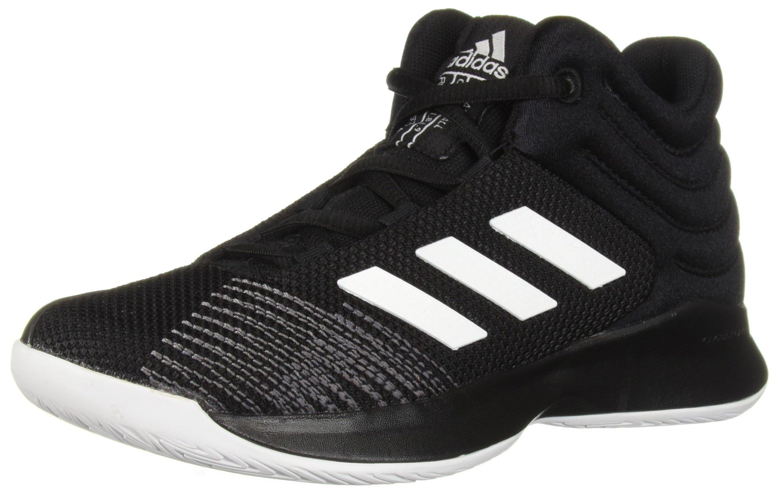 adidas Unisex Pro Spark 2018 Basketball Shoe, Black/White/Grey, 1.5 M US Little Kid