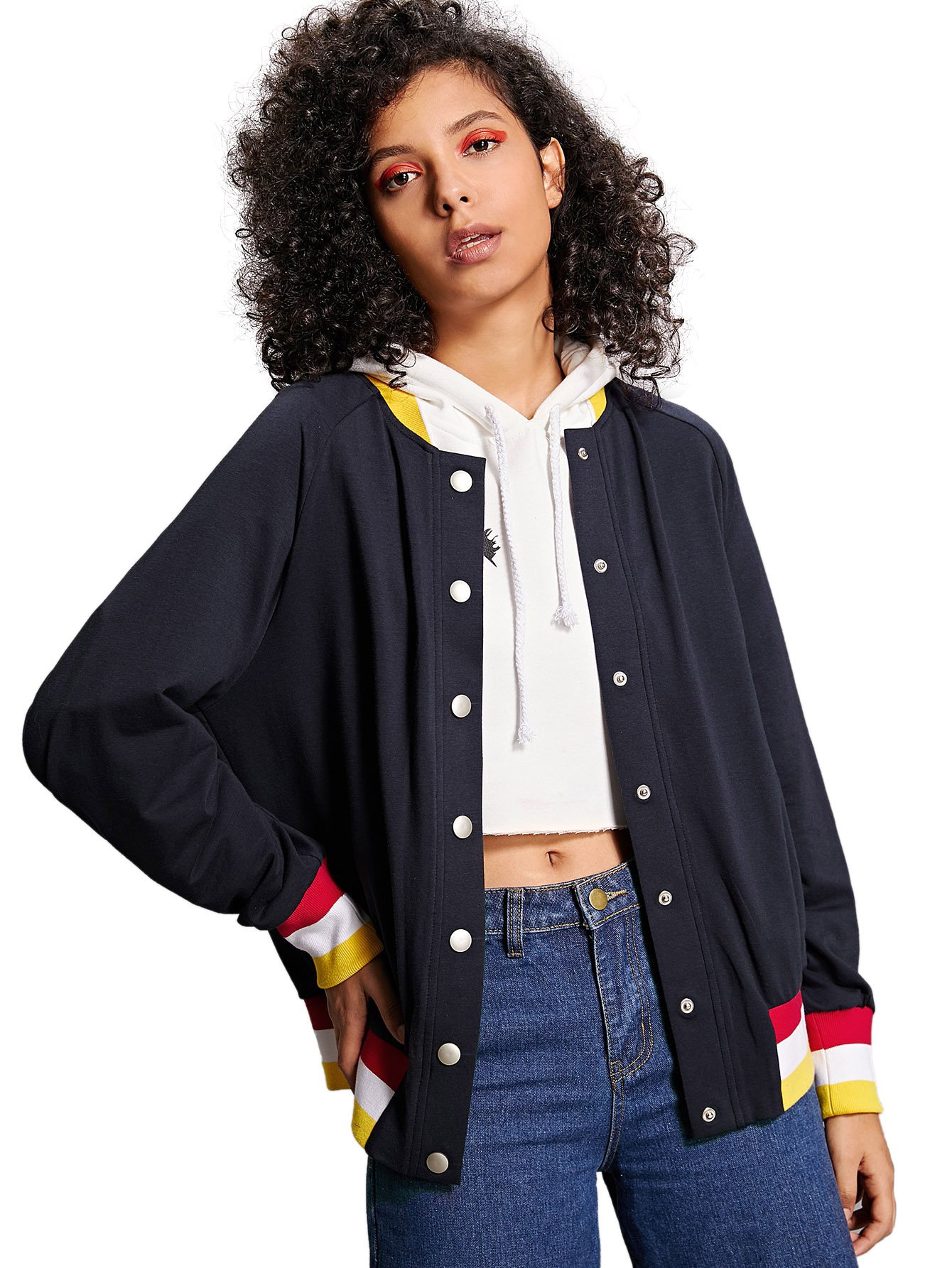 Romwe Women's Long Sleeve Colorblock Striped Print Button Up Baseball Jersey Jacket Top Navy L