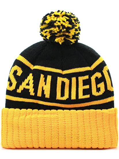 bd1fd85e004 American Cities San Diego Cuff Beanie Cable Knit Pom Pom Hat Cap - Black  Yellow at Amazon Men s Clothing store