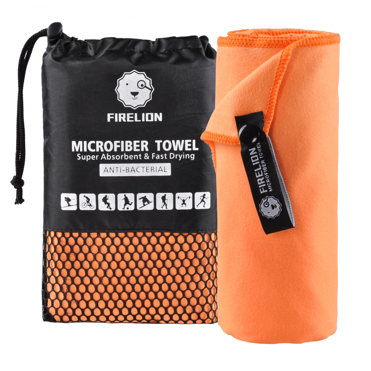 Backpacking Beach Hiking Suitable for Camping Gym Swimming Yoga FIRELION Microfiber Towels for Travel Sports Fast Drying Super Absorbent Ultra Soft Compact Lightweight Multi-Purpose