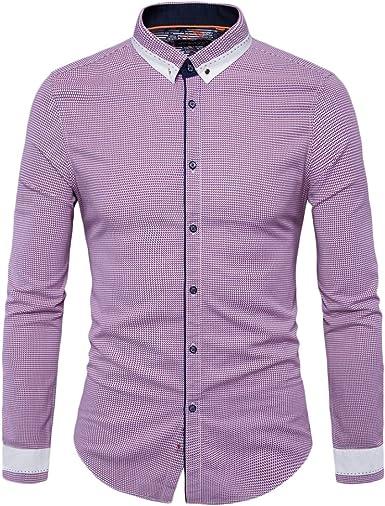 Camisa Básico Hombre Manga Larga Slim Fit Color Contraste Casual Negocio Checked Camisas: Amazon.es: Ropa y accesorios