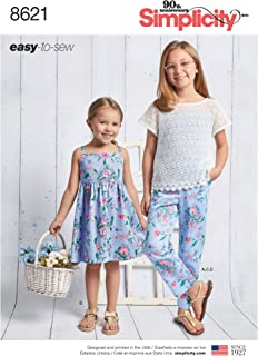 product image for Simplicity Easy to Sew Girl's Dress, Top, Camisole, and Pants Sewing Patterns, Sizes 7-14