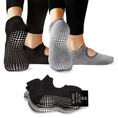 LA Active Grip Socks - 2 Pairs - Yoga Pilates Barre Ballet Non Slip, Powder