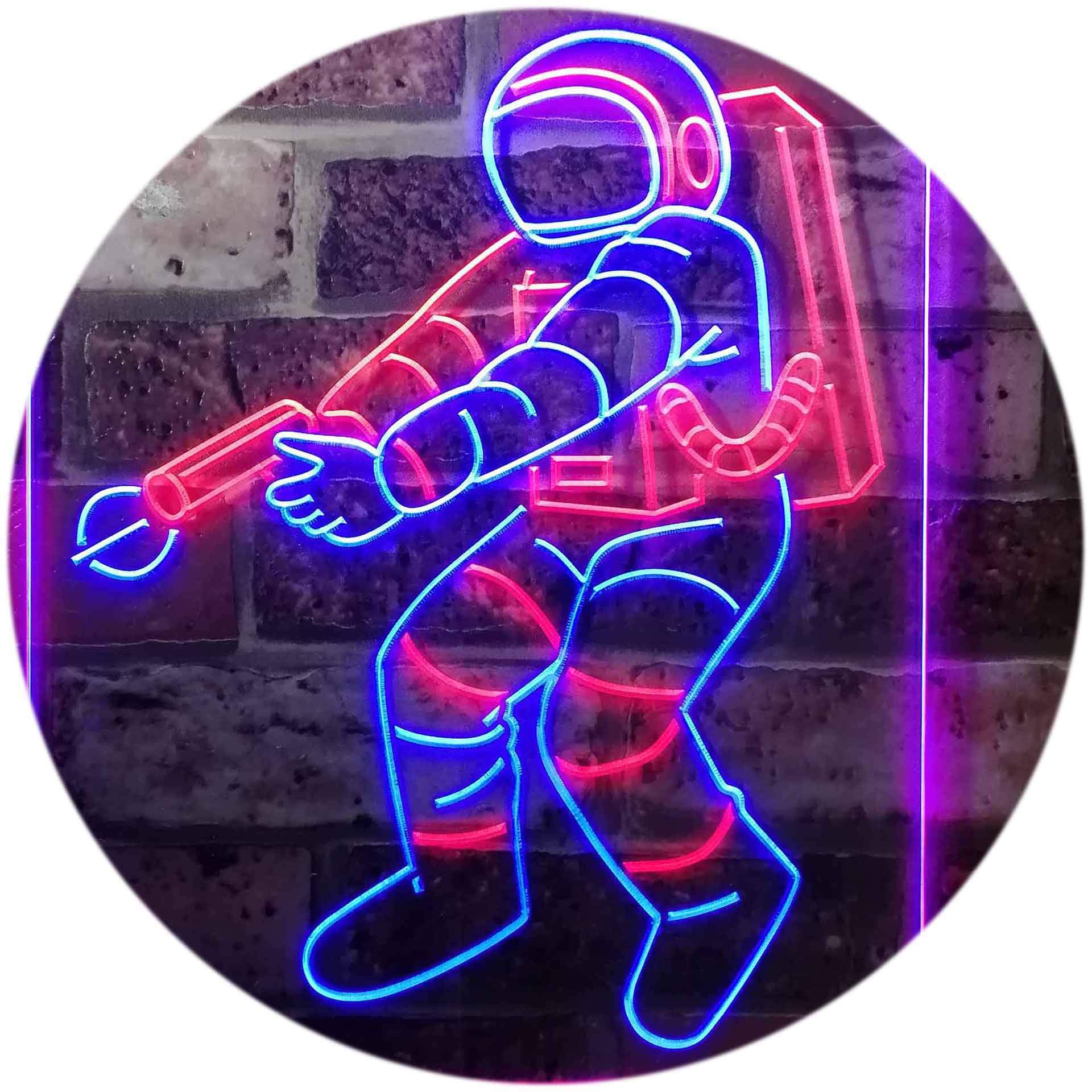 ADVPRO Astronaut Space Rocket Shuttle Kid Room Dual Color LED Neon Sign Red & Blue 12 x 16 Inches st6s34-i3136-rb