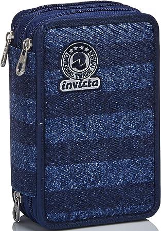 Estuche con 3 Compartimentos Invicta, Rayas, Azul, con lápices, bolígrafos, rotuladores.: Amazon.es: Equipaje