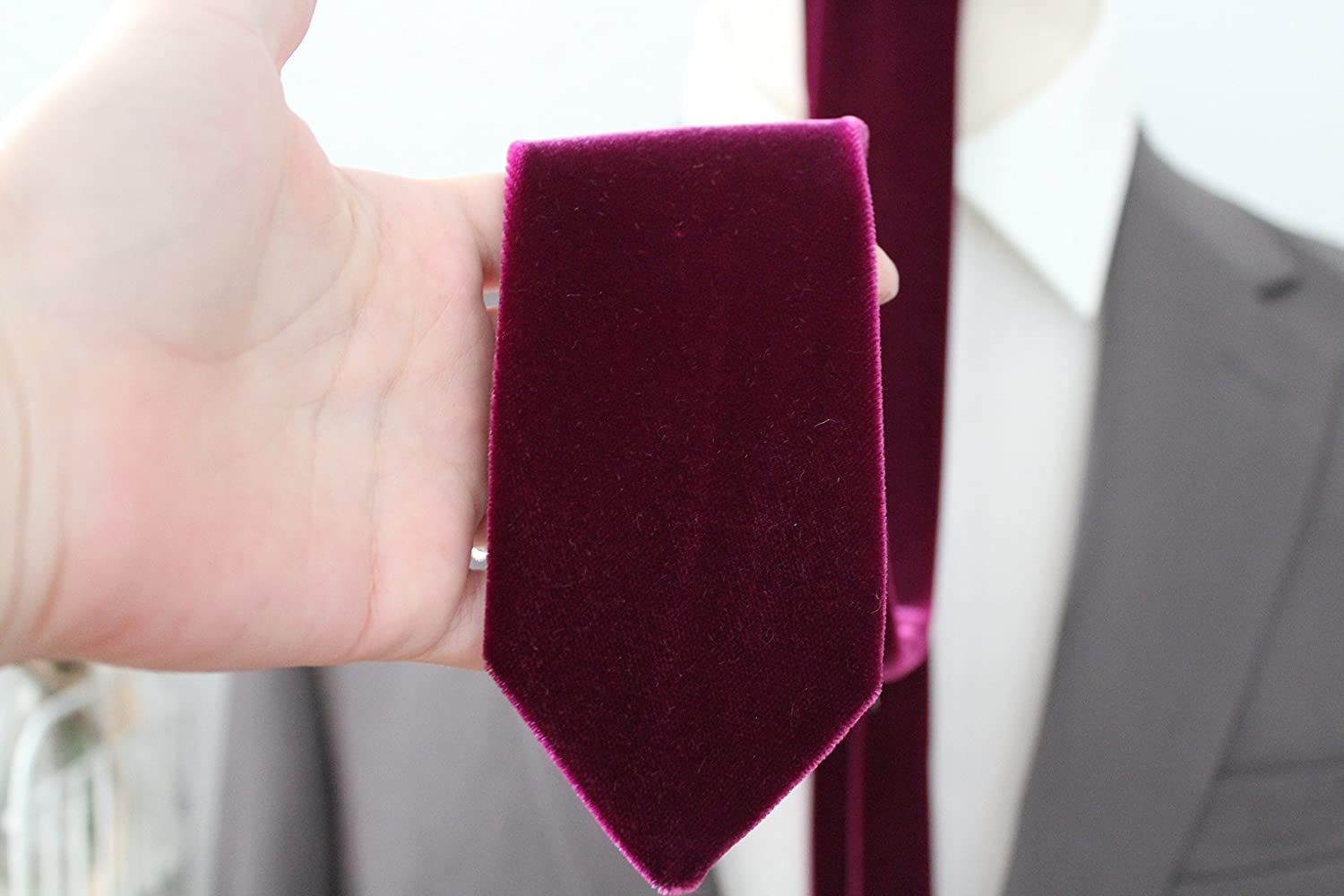 Lush Plum Velvet Neck Tie by Handsome&Lace