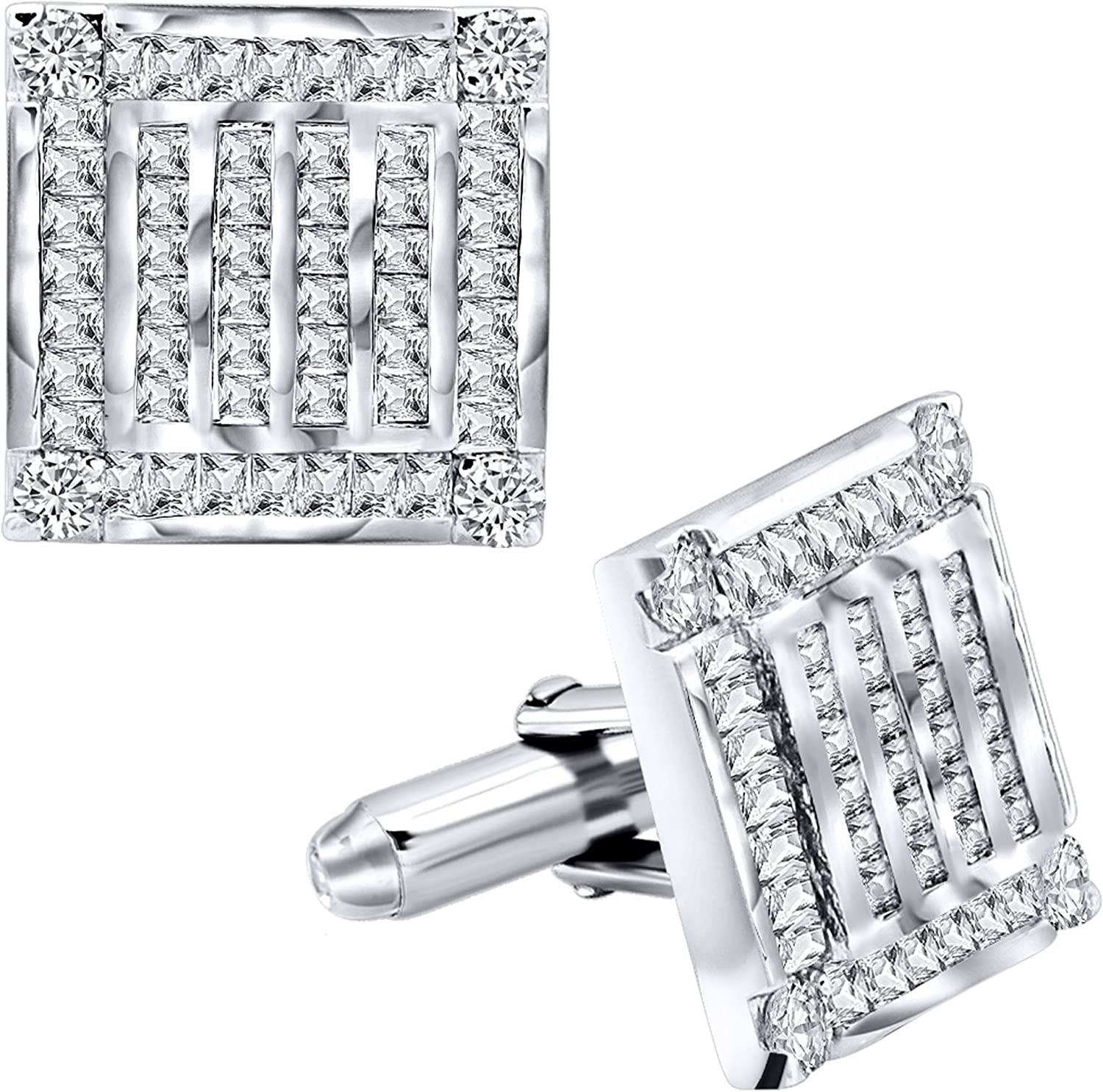 [2-5 Day Delivery] Men's Sterling Silver .925 Square Cufflinks with Channel-Set Baguette and Round Cubic Zirconia Stones, Platinum Plated. 18.5 mm. By Sterling Manufacturers
