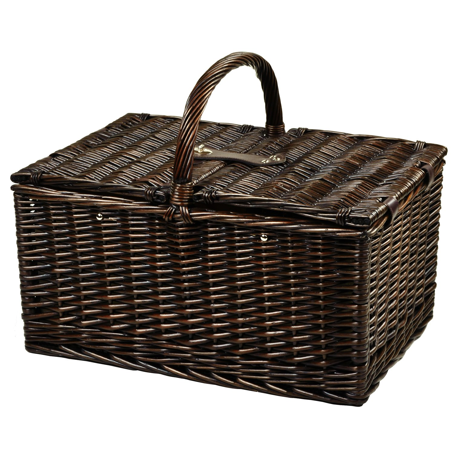 Picnic at Ascot Buckingham Willow Picnic Basket With Blanket And Coffee Service, Brown Wicker Diamond Orange