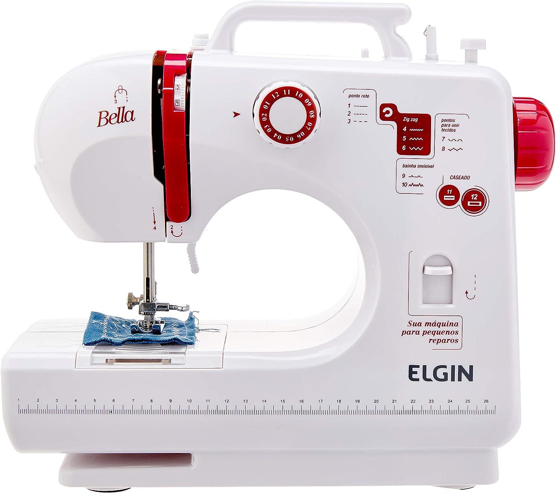 Maquina de Costura Bella, Compacta, Elgin, Branco / Rosa por Elgin
