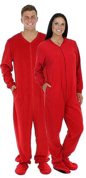 94c72e54a5ea SleepytimePjs Adult Red Fleece Onesie Pjs Footed Pajama-Women (ST17-W-RED