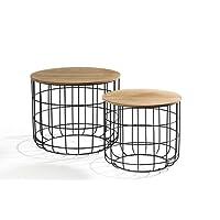 LIFA LIVING® 2er Set Beistelltisch aus schwarzem Metall und einer MDF-Holz Platte | Couchtisch mit Korbfunktion im Vintagestil und Industriestil | Bis zu 20kg Belastbarkeit