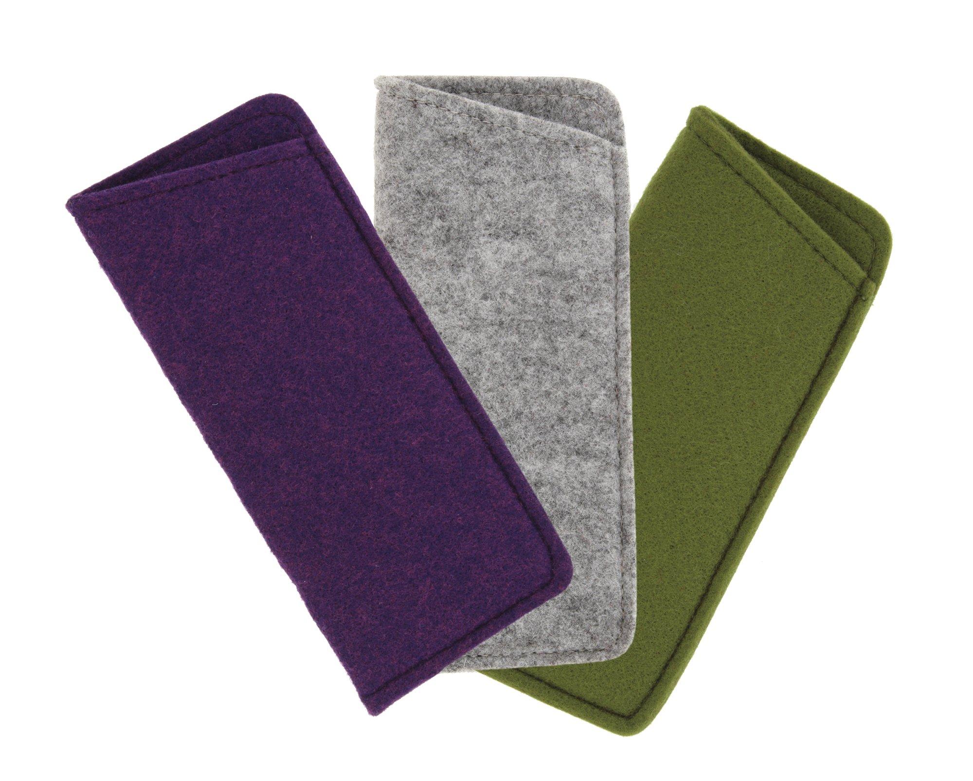 3 Pack Soft Felt Eyeglass Slip Cases, Small To Medium, Purple/Gray/Olive