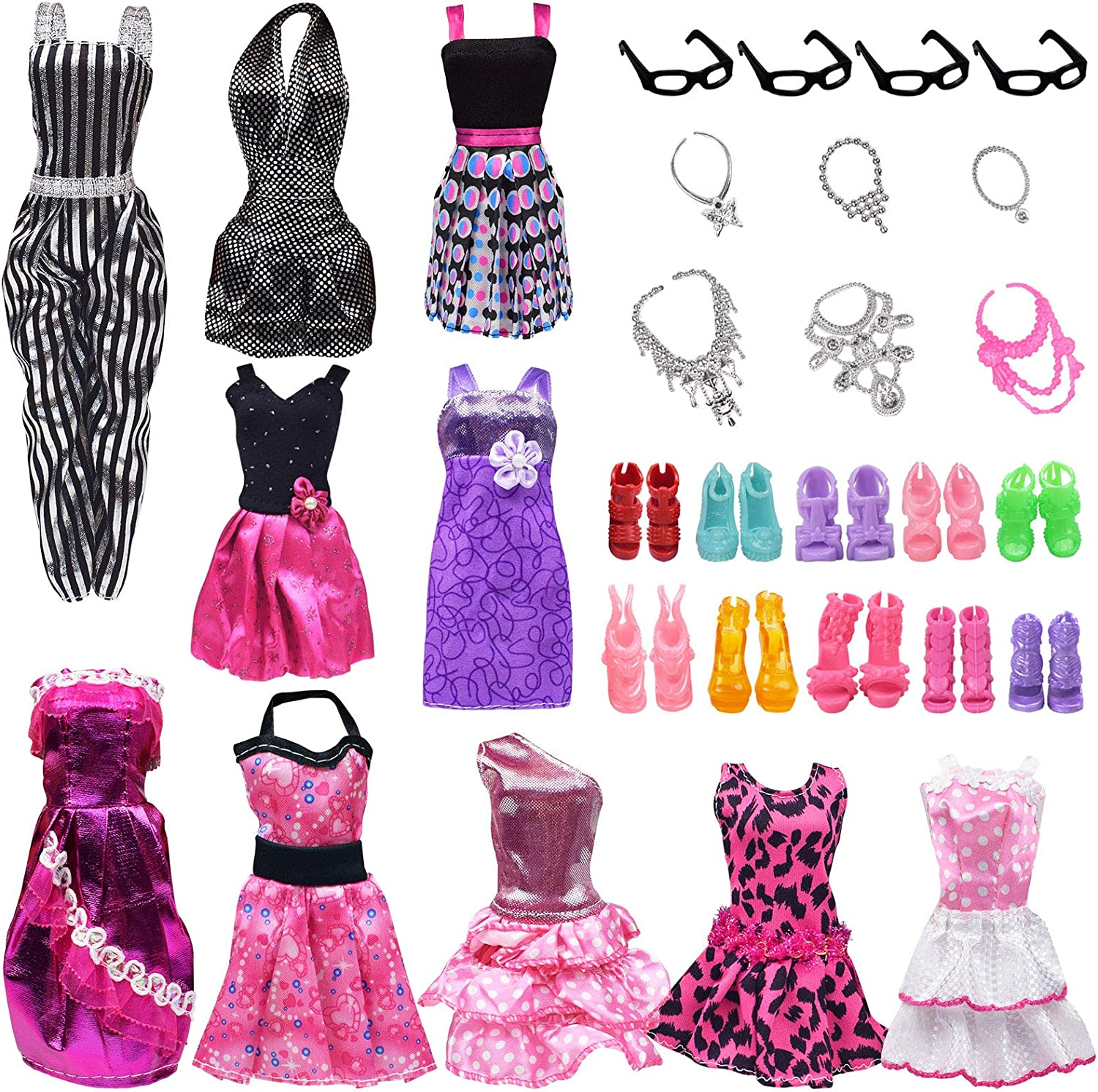 zheyistep 30 Pcs Fashion Casual Handmade Doll Clothes Sets and Accessories for 11.5 Inch Dolls Includes 10 Doll Clothes Dress+4 Glasses+6 Plastic Necklaces+10 Pairs Shoes
