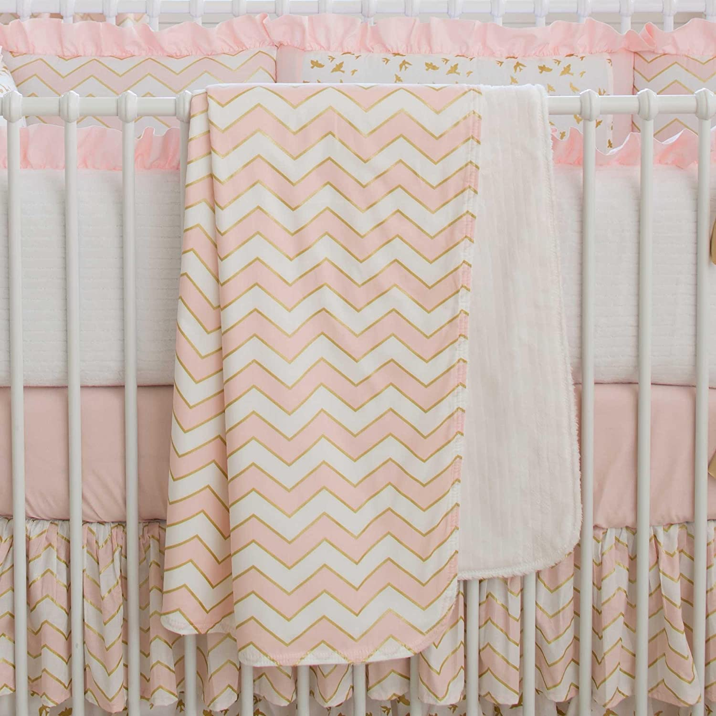 Carousel Designs Pale Pink and Gold Chevron Crib Blanket by Carousel Designs   B00VQRFZBA