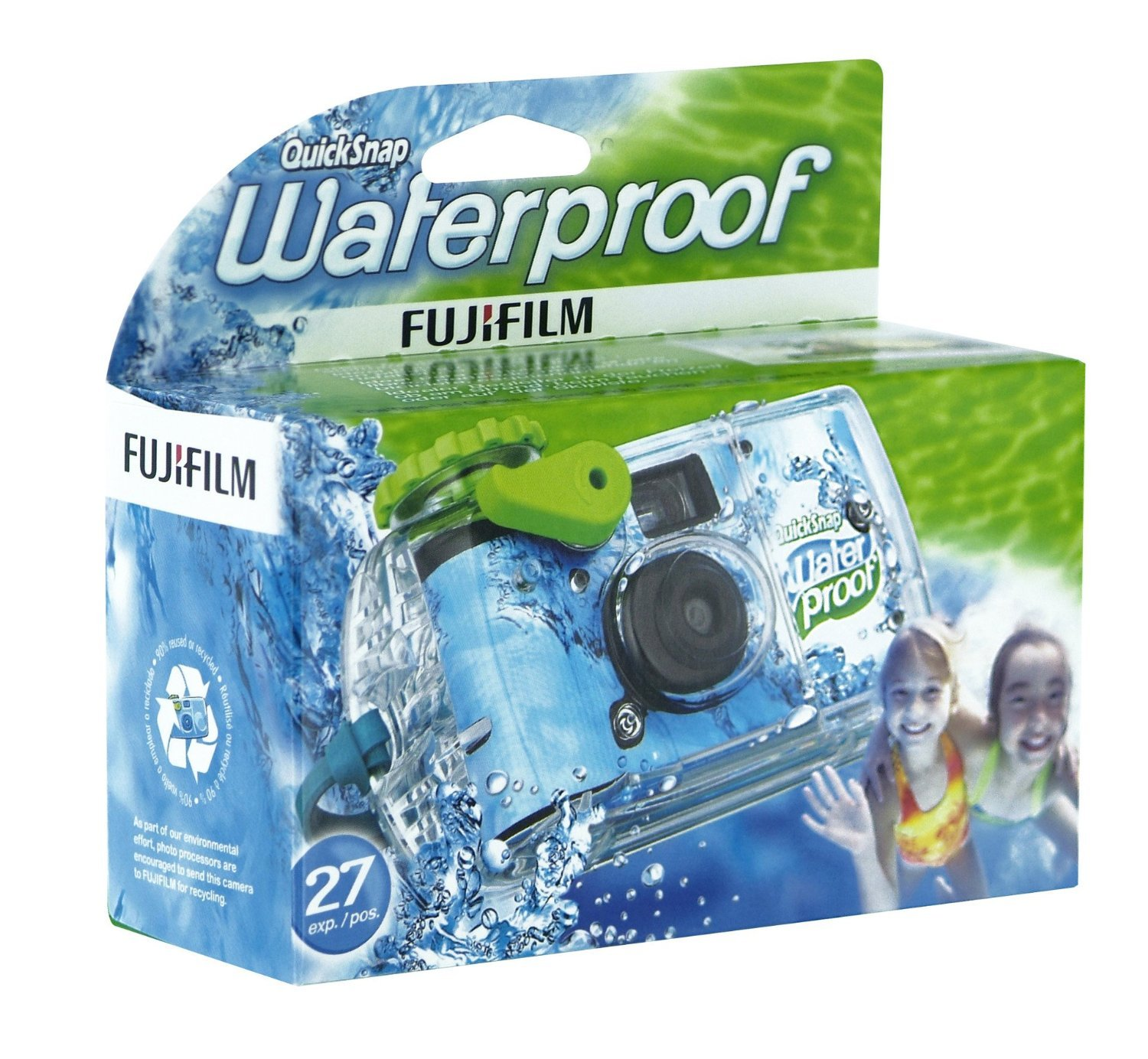 B00004TWM6 Fujifilm Quick Snap Waterproof 27 exp. 35mm Camera 800 film,Blue/Green/white,1 Pack 811wQ7N-rSL
