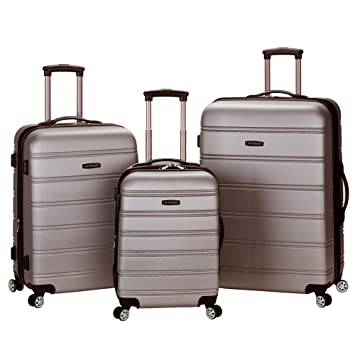 dc4365653 Amazon.com   Rockland Melbourne 3 Pc Abs Luggage Set, Silver   Luggage Sets