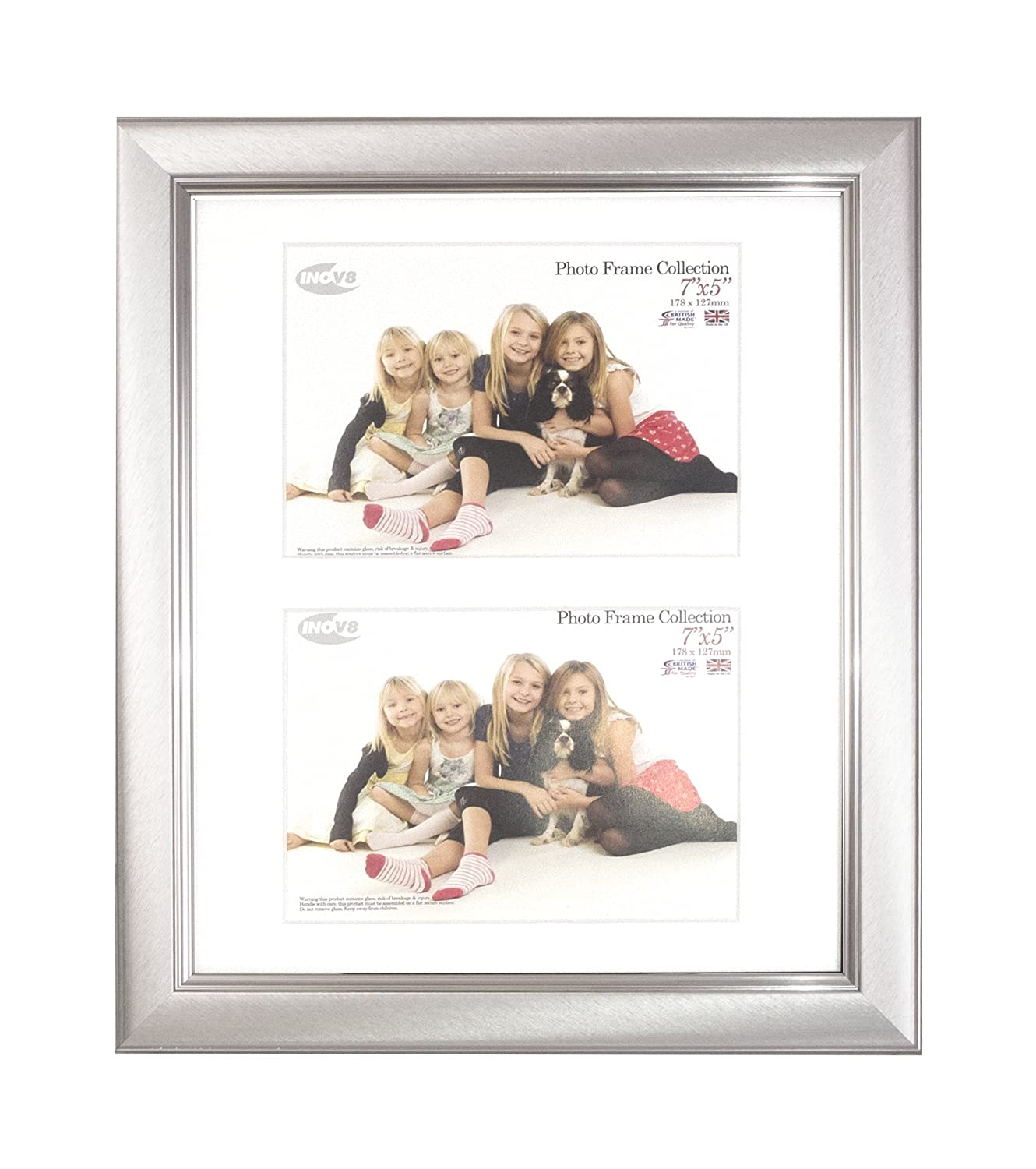 Brushed Small Black 12x10 Dual App 2x 7x5 Inch Inov8 British Made Picture//Photo Frame Pack of 2