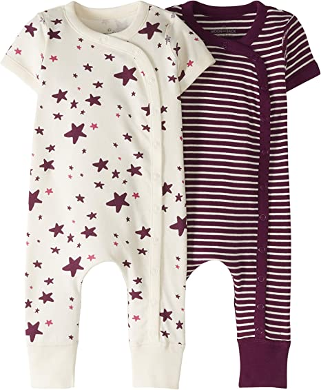 Moon and Back by Hanna Andersson Baby//Toddler Organic 2 Pack Long Sleeve Romper
