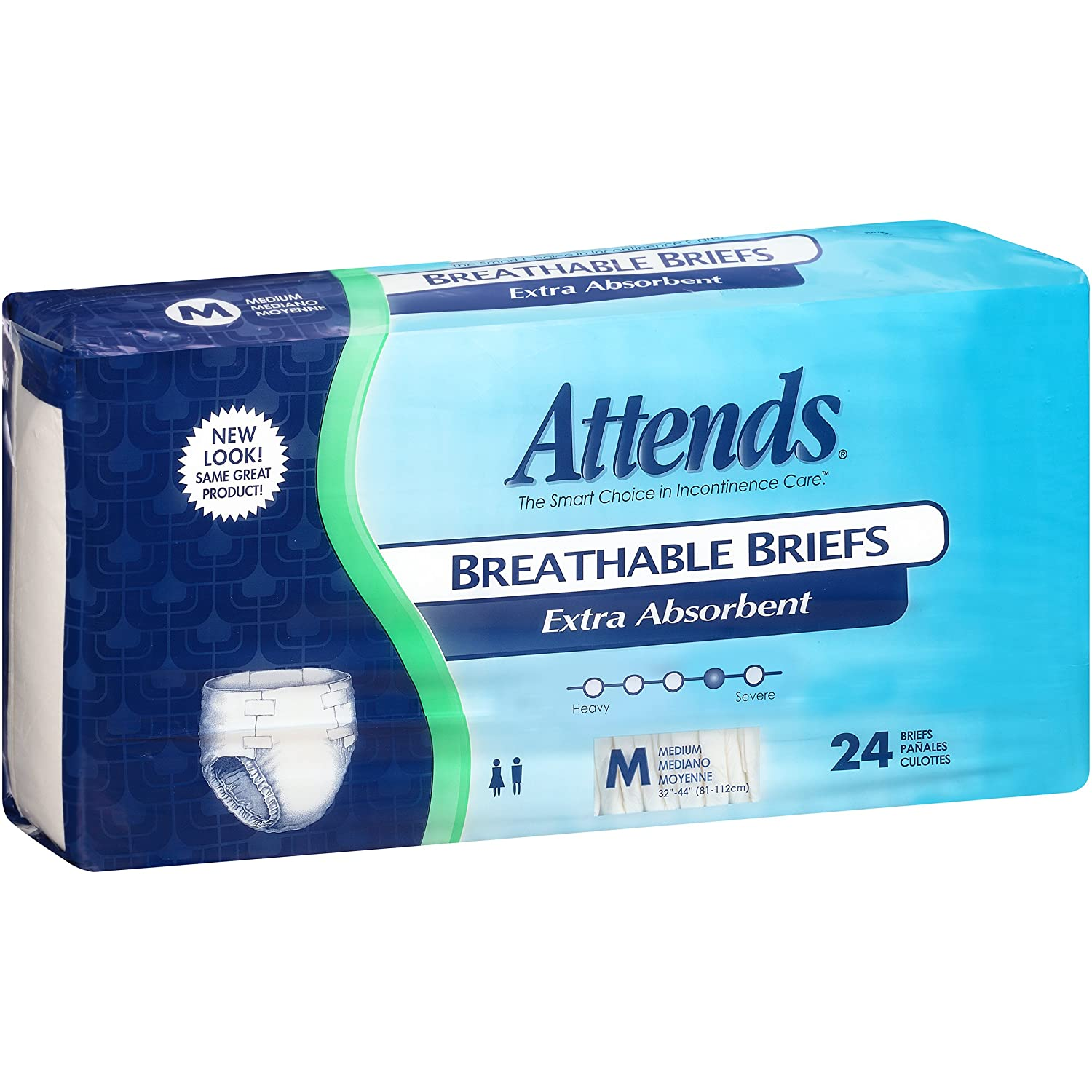 Amazon.com: Attends Breathable Briefs with Odor Shield for Adult Incontinence Care, Medium, Unisex, 24 Count (Pack of 4): Health & Personal Care