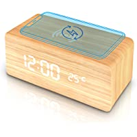 Wooden Alarm Clock with Wireless Charging Pad, LED Digital Clock with Large Date and Temperature Display, Sound Control…