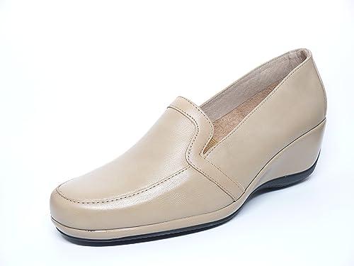 PITILLOS Zapato Casual Mujer Tipo Mocasin EN Piel Color Crema de La Marca 600-255