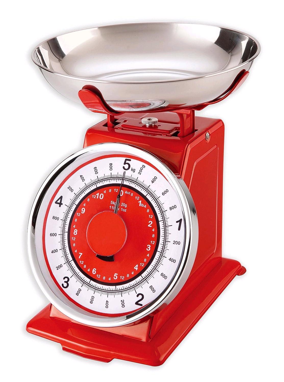 Maison à vivre NR-RD/5KG - Báscula mecánica (5 kg), diseño retro, color rojo: Amazon.es: Hogar