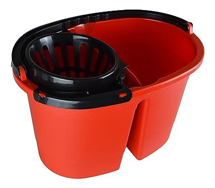 Cubo para fregona Clean Double XL con dos cámaras, 16 litros, con ruedas,