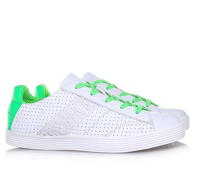 BIKKEMBERGS - Chaussure à lacets blanche en cuir, lacets verts, motif ajouré sur les deux côtés, garçon, garçons-38
