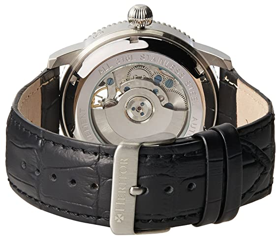 Amazon.com: Heritor Piccard Mens Automatic Black Leather Silver Watch w/Date HERHR2001: Heritor Automatic: Watches