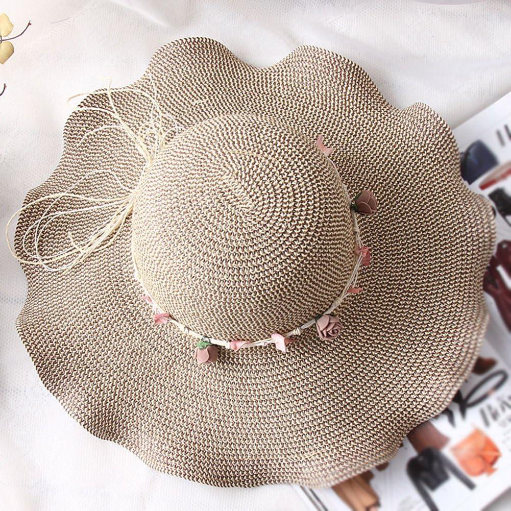 Sonnenschutz-Kappe zum Wandern 55-58 cm faltbar beige Strandhut mit breiter Krempe Damen-Sonnenhut von MoGist Strohhut mit Wellen-Muschel-Girlande