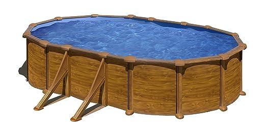 Gre KIT610W Pacific - Piscina Elevada Ovalada, Aspecto Madera, 610 x 375 x 120 cm