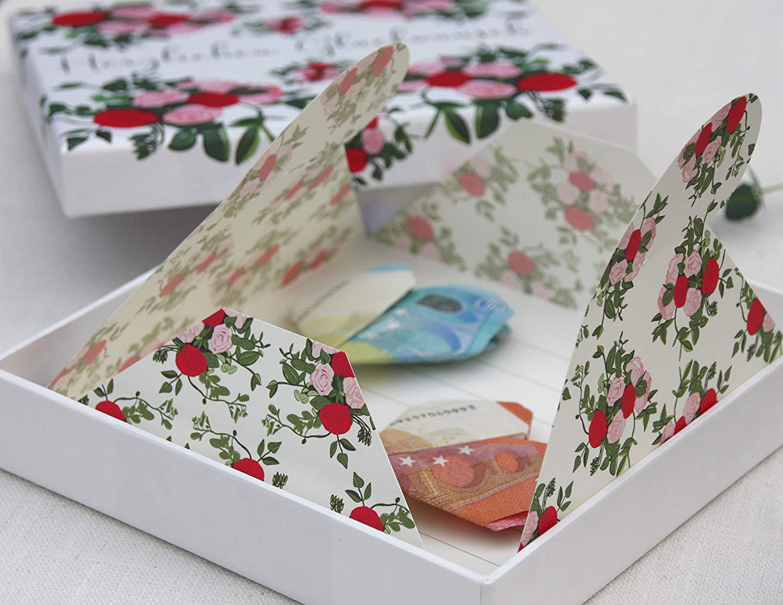 Geldgeschenk Geld und Gutschein Verpackung zur Hochzeit und zum Geburtstag Garden of Love