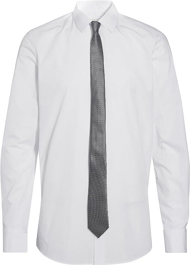 next Hombre Juego De Camisa con Puño Doble Y Corte Entallado, Corbata Gris Y Pañuelo De Bolsillo Blanco 15 1/2L: Amazon.es: Ropa y accesorios