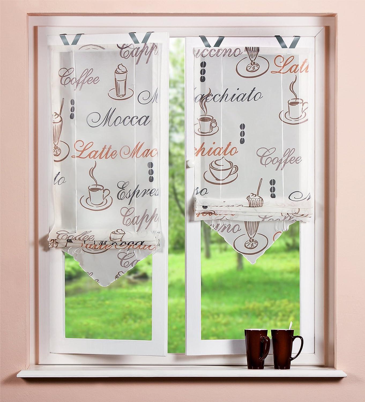 Home Fashion 57232-802 Store Bateau en Voilage Caf/é avec Crochets Cr/ème 140 x 45 cm