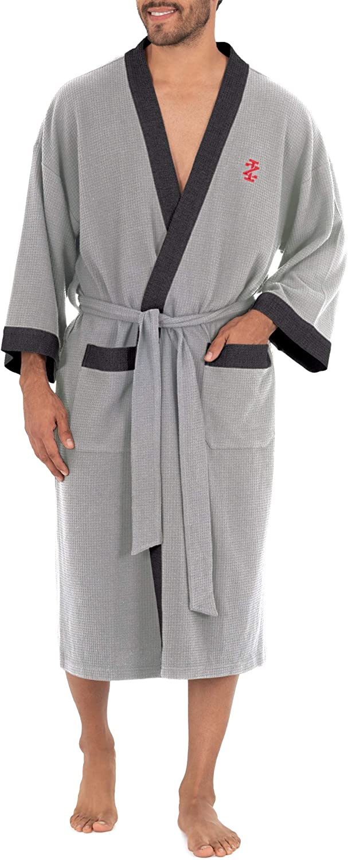 IZOD Men's Waffle Knit Kimono Robe