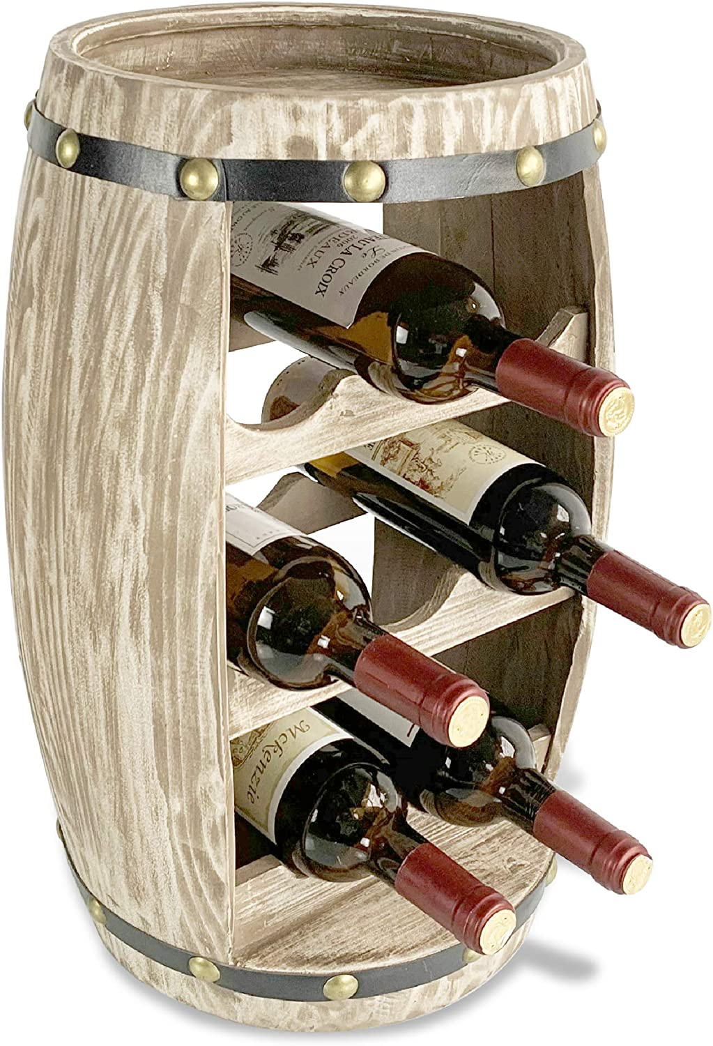 CoTa Global Modern Alexander Wine Rack - Freestanding Wooden Barrel Wine Holder for 8 Wine Bottles, Bottle Rack Floor Stand, Rustic Countertop Wine Storage Shelf Organizer for Wine Bar & Home Decor