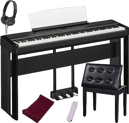 Yamaha P515B piano digital de 88 teclas, negro con el soporte de piano Yamaha L515, la unidad Yamaha LP1B de 3 pedales, banco de piano acolchado, ...
