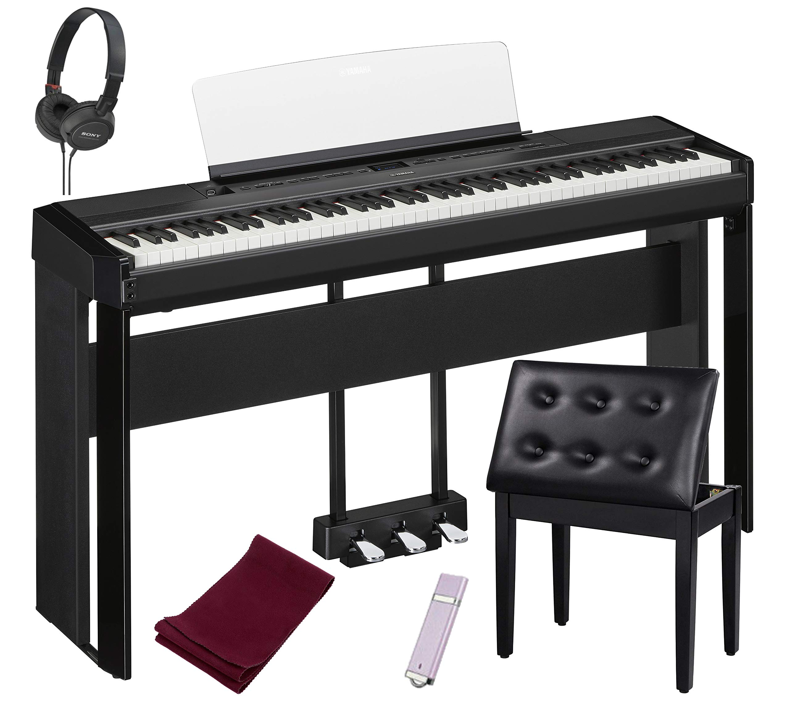 Yamaha P515B 88-Key Digital Piano Black bundled with the Yamaha L515 Piano Stand, the Yamaha LP1B 3-Pedal Unit, Padded Piano Bench, Dust Cover, Stereo Headphones, and USB Drive by Yamaha-Genesis