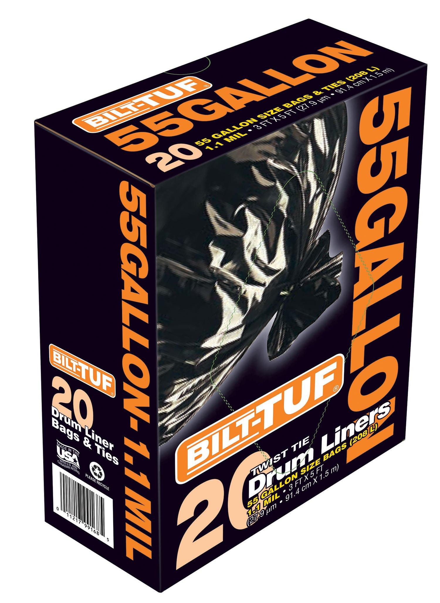 Presto Products Trash Bags 55 Gallon Drum Liner Garbage Bags Twist Tie Black 55 Gallon 1.1 Mil 20 Count - Bilt-Tuf